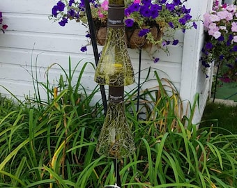 One of a kind windchimes from wine bottles