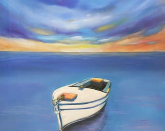 Boat on sea -Oil on canvas- Oil Realistic on-Oil Painting-Sea oil painting-Super realistic painting-Sea and sky painting-Original canvas art