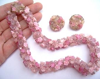 VENDOME Vintage Pink Flowers Necklace & Earring Set