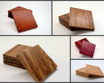Wood Coaster Set - Solid Hardwood Coasters - Christmas Gift