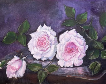 painting original acrylic painting paintingFREE SHIPPING rose painting pink roses roses gift for her for him