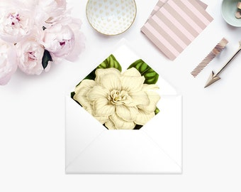 Printable Envelope Liner  | Botanical Envelope Liner | Envelope Liner Template - White Magnolia