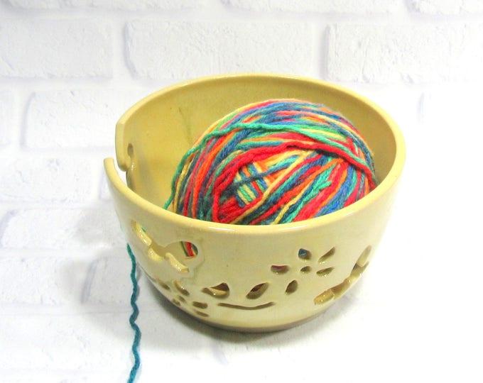 Featured listing image: Yarn Bowl - Knitting Bowl - Pottery Yarn Bowl - Ceramic Yarn Bowl - Crochet Bowl - Yarn Holder - Bowl for Knitters - Yarn Keeper