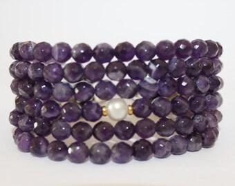 Semi Precious Stone Bracelet, Multi Strand Gemstone Bracelet, OOAK Bracelet, Faceted Gemstone Bracelet, Amethyst and Pearl bracelet