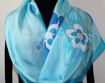 Blue Silk Scarf Handpainted Shawl BLUE COLUMBINES. Large 14x72, by Silk Scarves Colorado. Bridesmaid Gift, Mother's Gift, Gift Ideas for Her