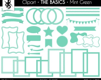 Digital Clipart-The Basics-Mint Green-Mint-Digital Elements-Frames-Arrow-Flags-Banner-Labels-Ribbon-Borders-Instant Download Clip Art