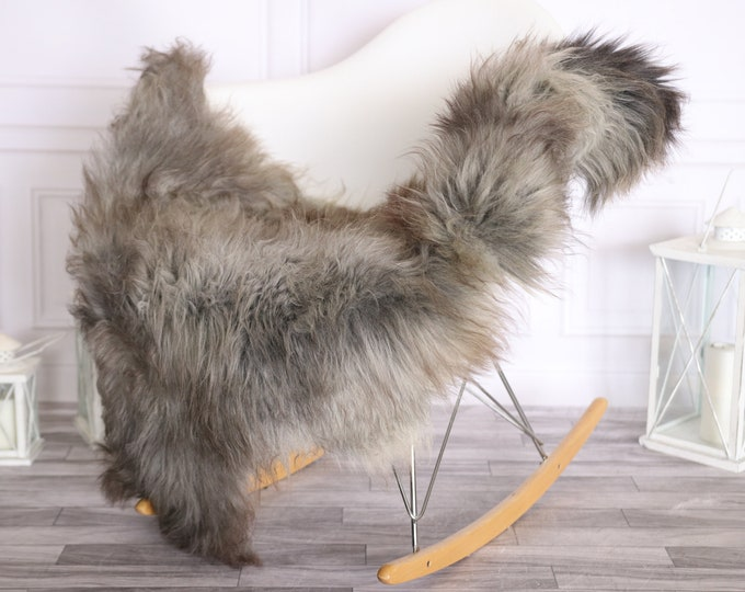 Sheepskin Rug   Real Sheepskin Rug   Shaggy Rug   Scandinavian Rug     SCANDINAVIAN DECOR   Gray Brown Sheepskin #OLHER9