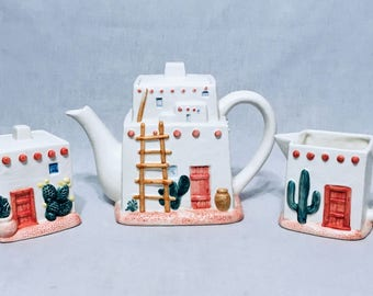 Adobe Pueblo Southwestern Motif Coffee Tea Set 3-D Embossed FIGI Graphics 5 Piece Set: Teapot, Creamer, Sugar Container & Lids Otagiri Japan