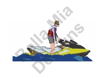 Boat - Machine Embroidery Design, Jet Ski, Waverunner
