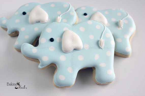 Elephant Baby Shower Cookies Baby Shower Favors Baby Boy