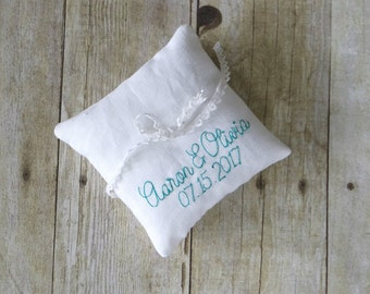 Personalized Names and Date Embroidered Linen Ring Bearer Pillow - Two Sizes
