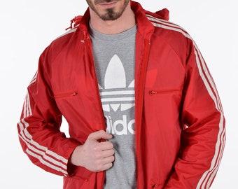 Vintage 1970's Adidas Red Windcheater Jacket S - www.brickvintage.com