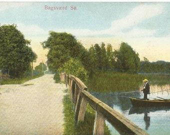 1910 Unused Postcard - Fishing at Lake Bagsværd - Zealand, Denmark