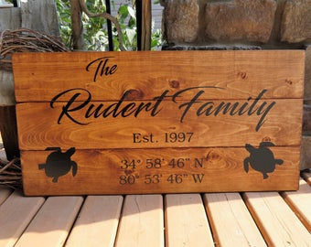Your Family Name & Coordinates Customized Wood Sign - Established Date, Rustic, Distressed, Country, Wood Plank, Sea Turtle