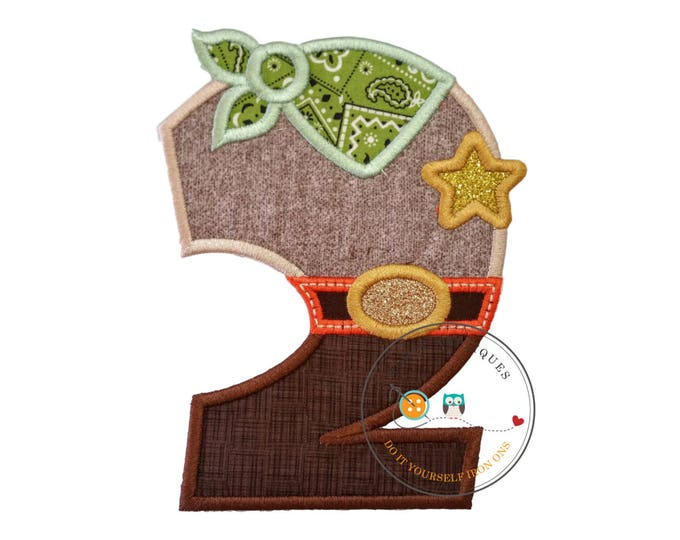 Sheriff birthday number two iron on applique, Embroidered western second birthday patch, Wild west 2nd birthday themed party, ready to ship