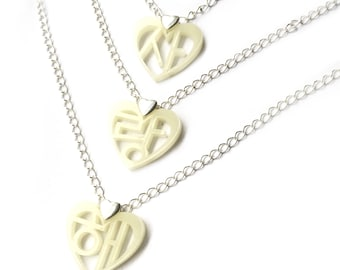 Korean Hangul I Love You Necklace (Sarang hae) Black Ivory 3 Tier, Valentines Gift For Her, Korean Anniversary Wedding, Vday Kpop Present