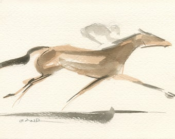 """Race Horse Art, Derby Galloping Racehorse, Original Watercolor Painting by Anna Noelle Rockwell-""""Extended"""""""