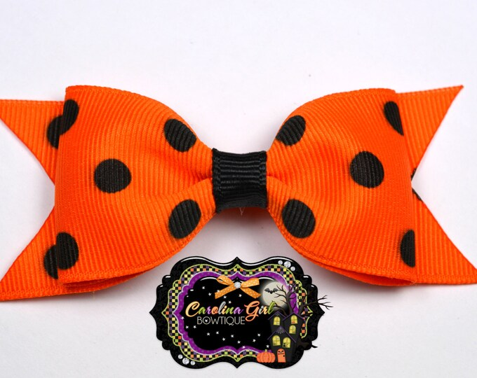 "Orange w/ Black Dots Tuxedo Bow ~ 3.5"" Hairbow ~ Small Hair Bow ~ Girls Barrette ~ Toddler Bow ~ Baby Hair Bow ~ Hair Clip ~ Girls Hair Bow"