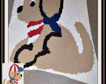 Patriotic Puppy Twin Afghan, C2C Graph, Written Word Chart