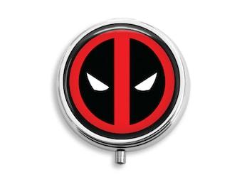Deadpool Logo Symbol Pill Box, Pill Case, Pill Container, Mints Case, Trinkets Box, Jewelry Box (P011)