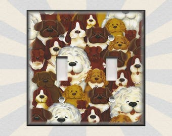 Metal Light Switch Plate Cover   Lots And Lots Of Dogs Kids Room Dog Decor  Dogs