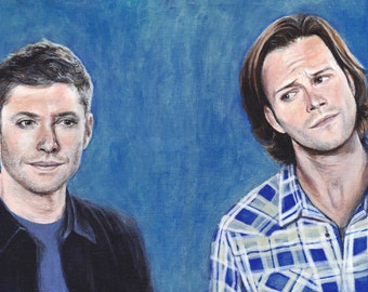Supernatural Dean and Sam Winchester Jensen Ackles Jared Padalecki Acrylic Painting Art Print 11.7 x 16.5 inches