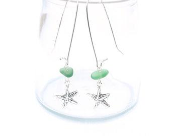 Sea Glass Earrings, Beach Glass Earrings, Silver Starfish Long Seaglass Earrings, Sterling Silver Beach Glass Jewelry