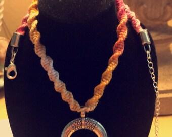 Natural hemp crescent necklace
