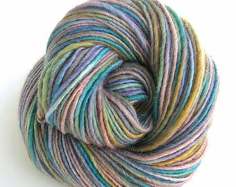 Hand Dyed Yarn Worsted Wool Mohair Yarn Pastel Colors Space Dyed Yarn - Pixie Dust