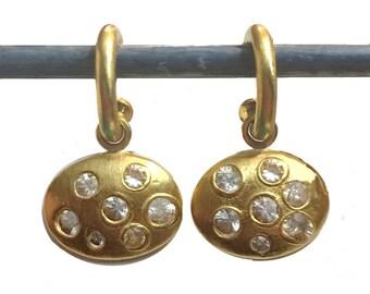 22k White Sapphire Mosaic Dangles for Hoops - Interchangeable Earrings