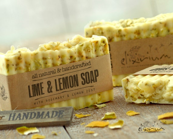 Lime & Lemon ORGANIC SOAP with Rosemary • Natural Soap, Organic Soap, Vegan Soap, Handmade Soap, Rustic soap, natural soap bar, Body soap