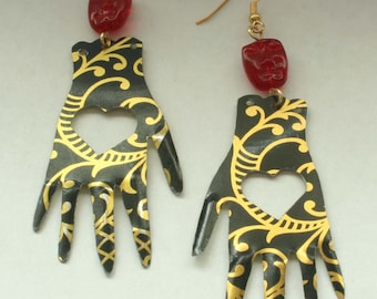 Hands of friendship earrings. Reclaimed recycled tin art