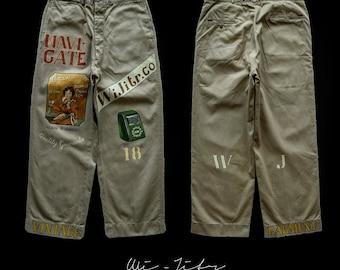 Vintage Us army pants  Handpainted By WIJITR