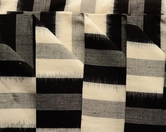 Black And White Striped Double Ikat Fabric By The Yard