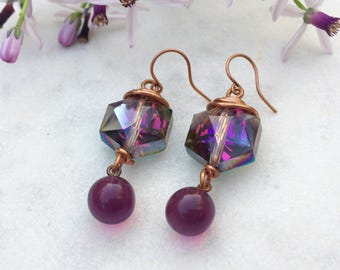 Wire wrapped copper crystal glass &  vintage glass beads dangle earrings iridescent hexagon crystal earrings bead drop earrings
