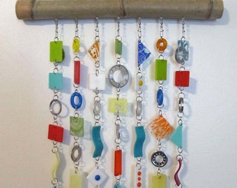 """Pop!: Glass Mobile / Wind Chime featuring Stained Glass and Fused Glass (approx 17"""" wide x 15"""" long)"""