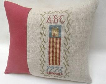 Primitive Patriotic Cross Stitch Mini Pillow, Americana, Flag House, 1776, Shelf Pillow