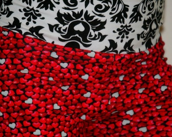 Euro import red hots and black damask knit