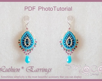 Photo Tutorial ENG-Ita ,DIY earrings,*Luthien* earrings ,PDF Pattern 57 with swarovski, drops, and seed beads