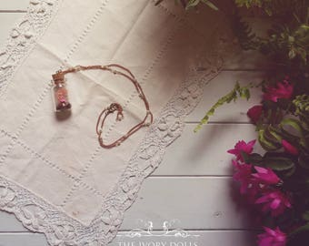 OOAK Fairytale Terrarium Necklace ~ Pink Toadstool, Milky Quartz Gemstone and Pink Moss ~ Vintage Pearl Chain ~ Handmade by The Ivory Dolls