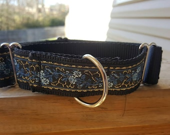 Martingale Collar - Blue/Black/Gold (Nylon)