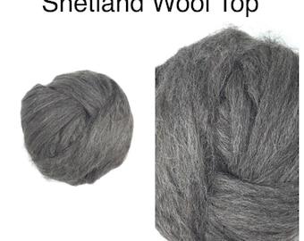 RESERVED Grey Shetland Wool Top Undyed / Natural Grey Shetland Roving / 2oz 4oz 8oz