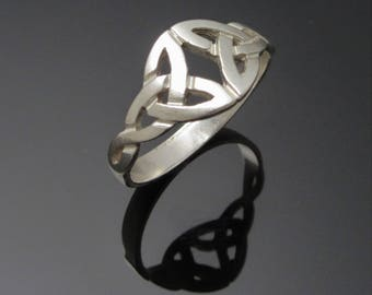 Silver Trinity Knot Ring - Celtic Double Knot Ring - Irish Jewelry - Silver Ring - Silver Celtic Jewelry - Handmade in Ireland