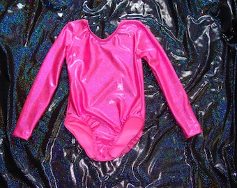 Gymnastics leotard Babies, Toddlers, Girls and Women Long Sleeve in any color fabric- Pink Twinkle Pictured
