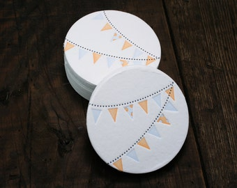 Set of 12 - Letterpress Printed Pennant Coasters (Blue + Orange)