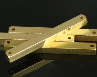 "Raw brass bar connector square stamping bar 20 pcs 5x50mm 3/16""x2""  2 hole square rod (2mm 5/64"" 12 gauge hole )sbl550-1092W"