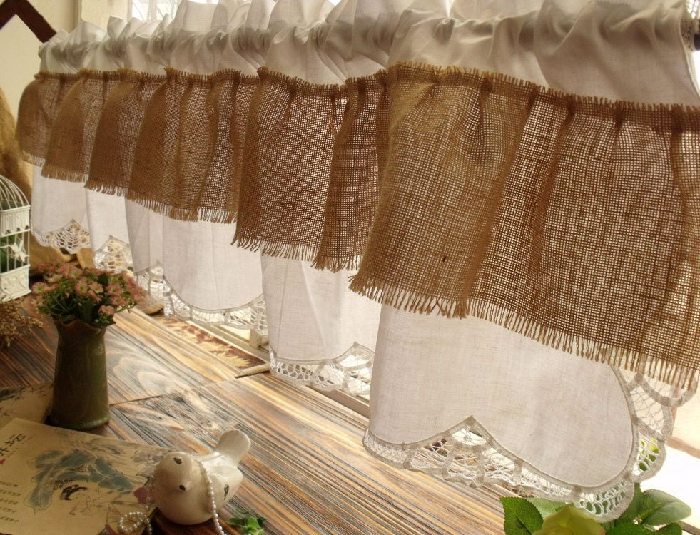 Rustic French Country: 72 RUFFLES-Shabby Chic French Country Rustic Burlap