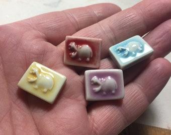 Mosaic Tile Ceramic Hippo Hippopotamus Porcelain Your Choice