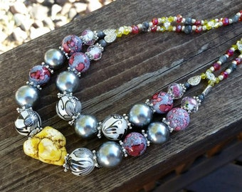 Pink, Yellow, and Grey Double Layer Statement Necklace with Gemston and Crystal Beads - Women Fashion Accessories
