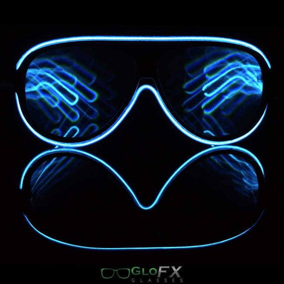2ddc49afc912 Aviator Style Blue Light Up Diffraction Glasses el Wire Glow